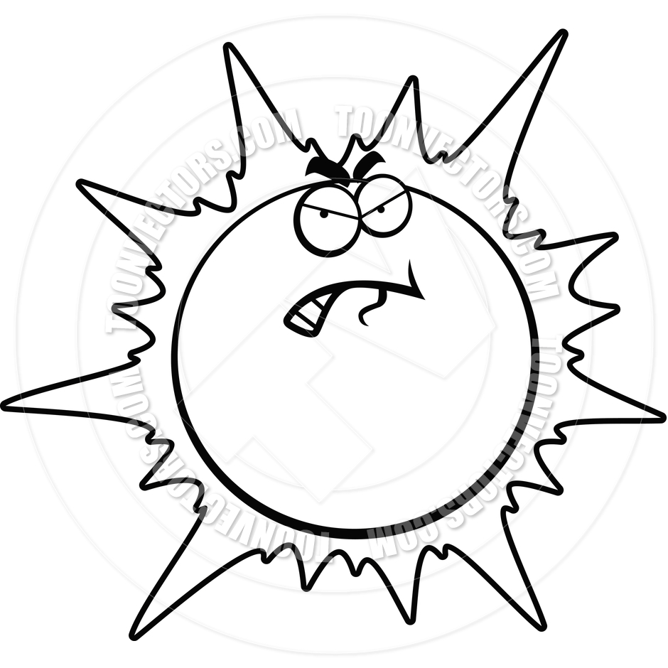 Angry Sun Black And White Line Art Cory Thoman Toon Vectors