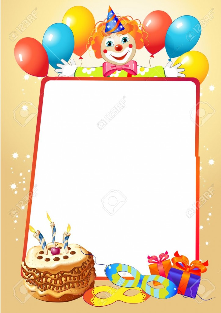 Birthday Decorative Border With Balloons And Clown Royalty Free