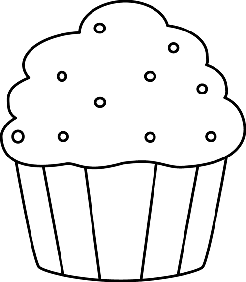 Black And White Cupcake With Sprinkles Clip Art Black And White