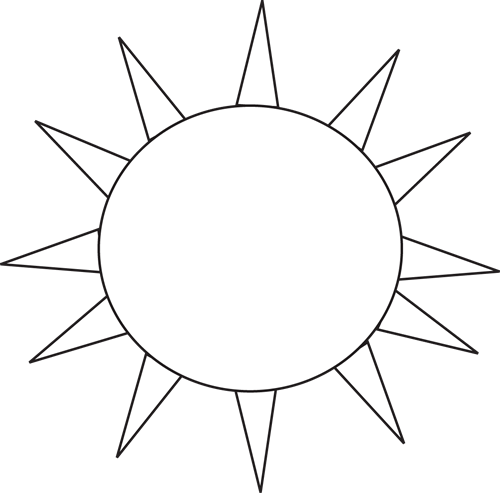Black And White Sun For Letter S Clip Art Black And White Sun