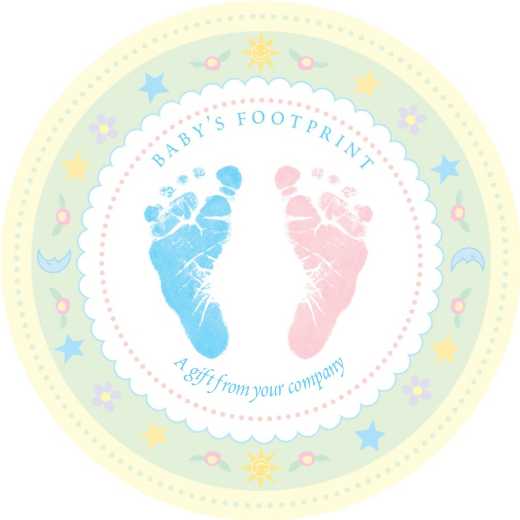 Blue Baby Foot Print Pink Baby Hand
