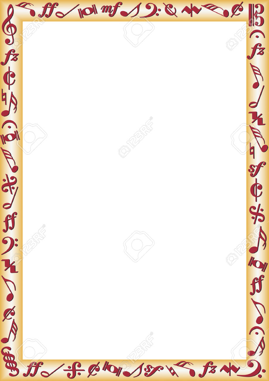 Border With Music Notes And Signs Royalty Free Cliparts Vectors