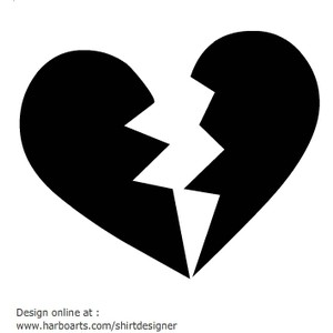 Broken Heart Clip Art Black And White 2 Jpeg