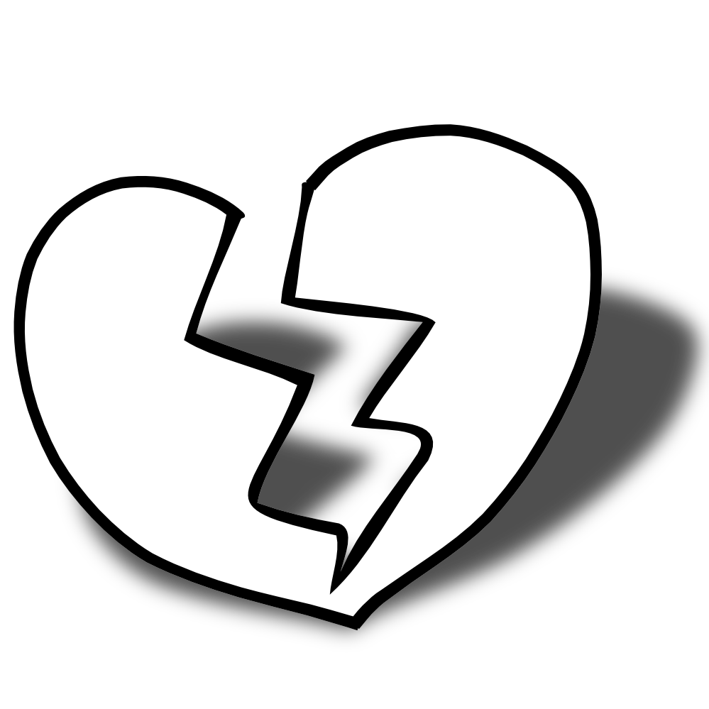 Broken Heart Clip Art Black And White Broken Heart Coloring Pages