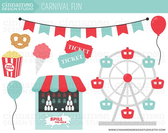 Carnival Ferris Wheel Popcorn Cotton Candy Cute Clip Art Instant