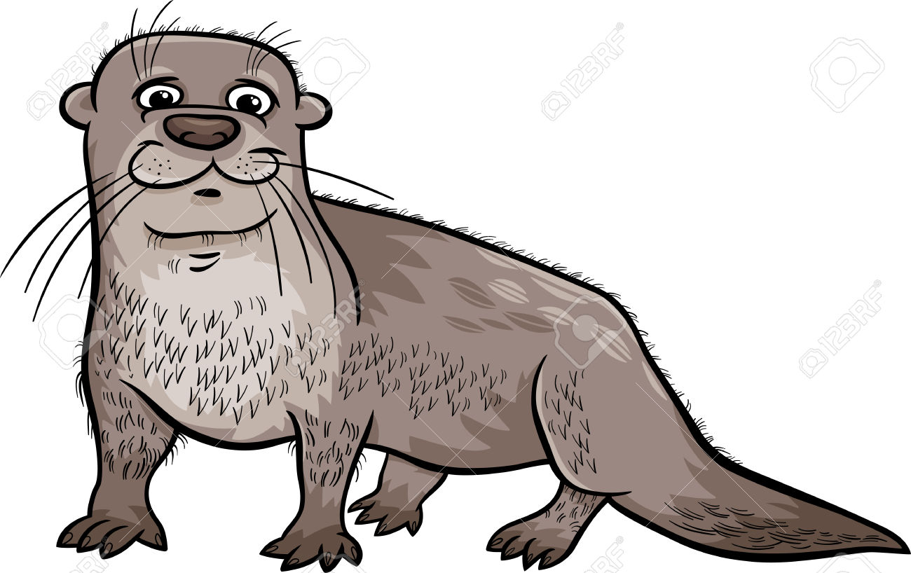Cartoon Illustration Of Cute Otter Animal Royalty Free Cliparts