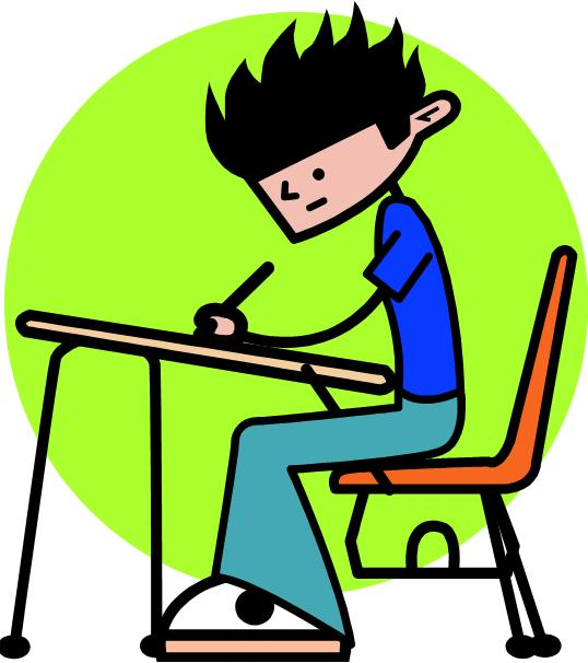 Cartooon Student Working Clipart