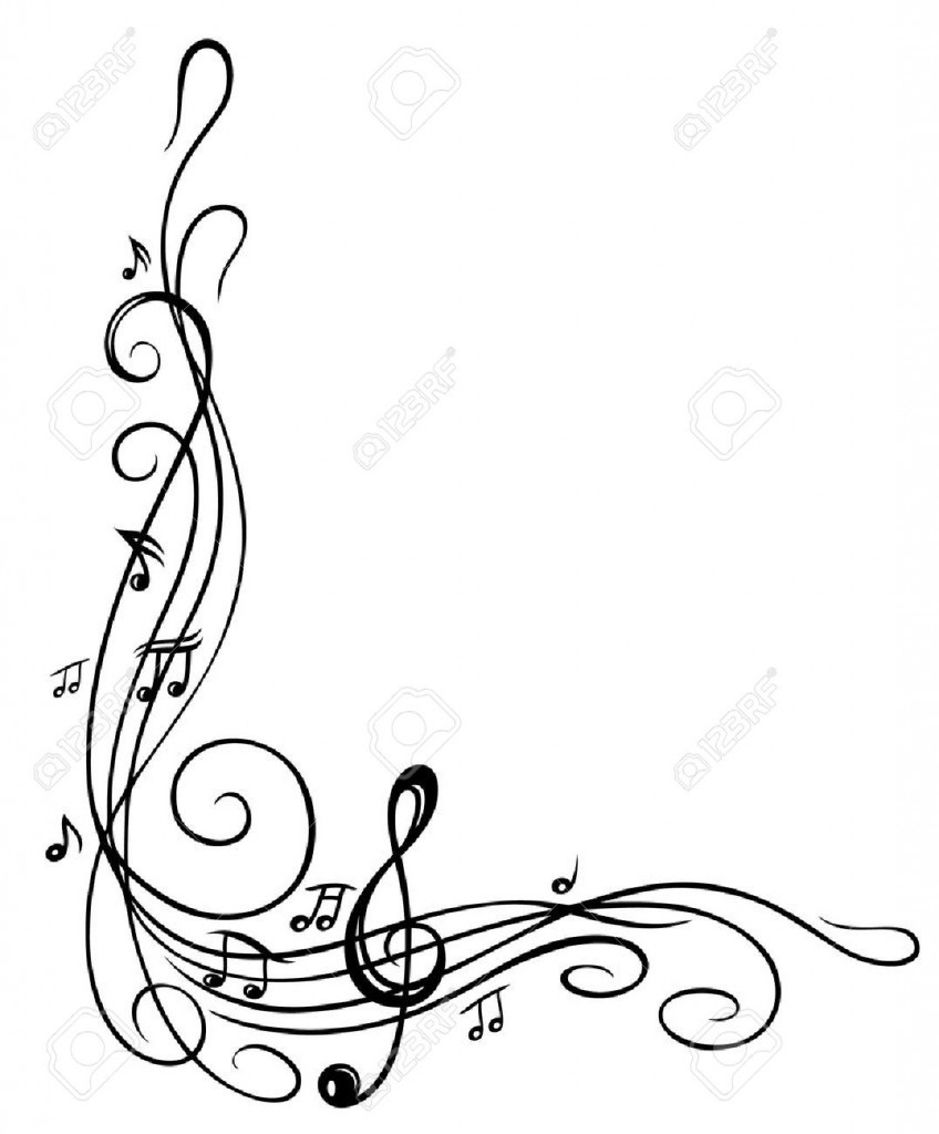 Clef With Music Sheet And Music Notes Border Royalty Free
