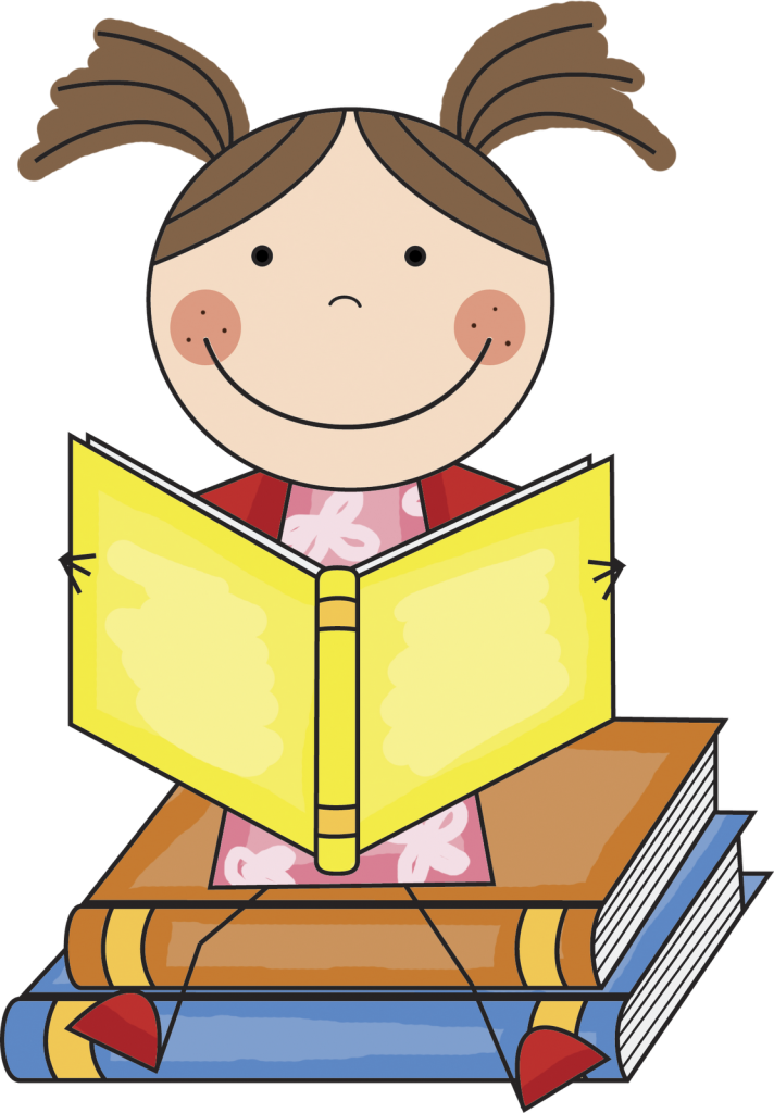 Clip Art Girl Reading Book