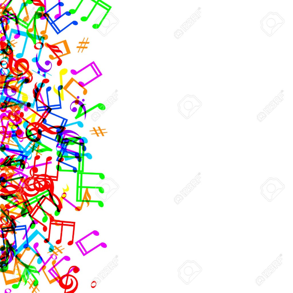 Colorful Music Notes Border Frame On White Background Royalty Free