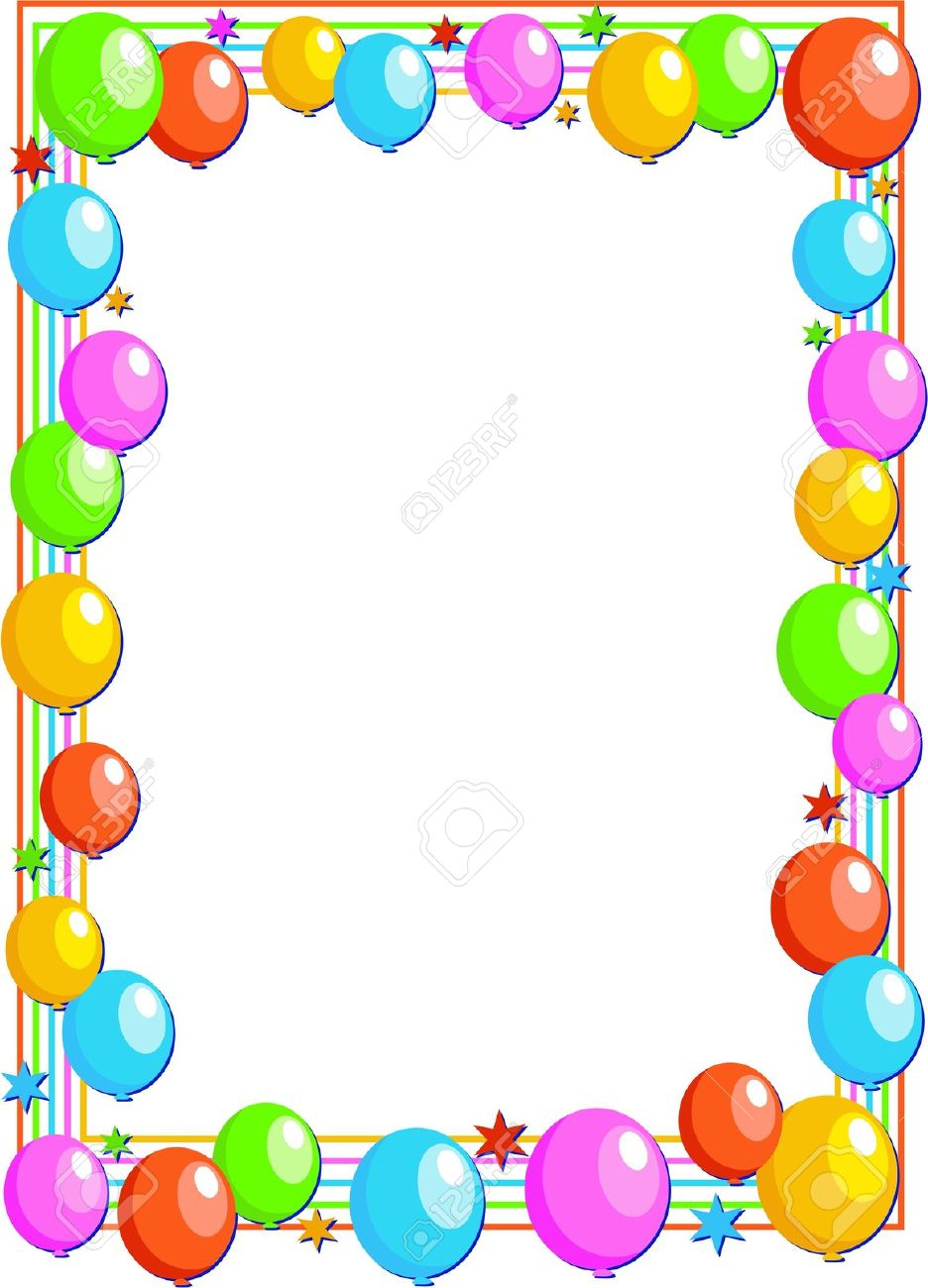 Colourful Birthday Party Balloon Page Border Design Stock Photo