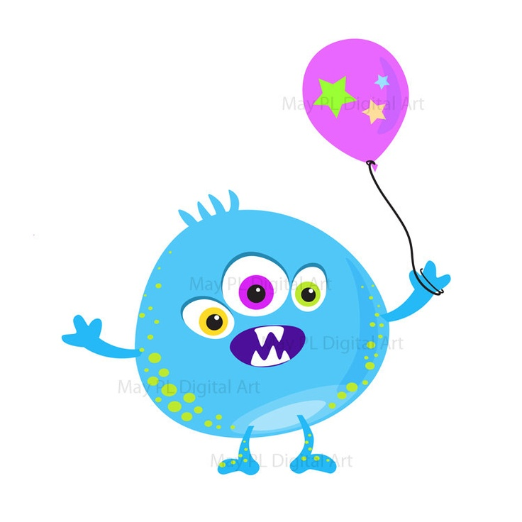 Cute Monster Clipart Clip Art Kids Birthday Party Digital Little