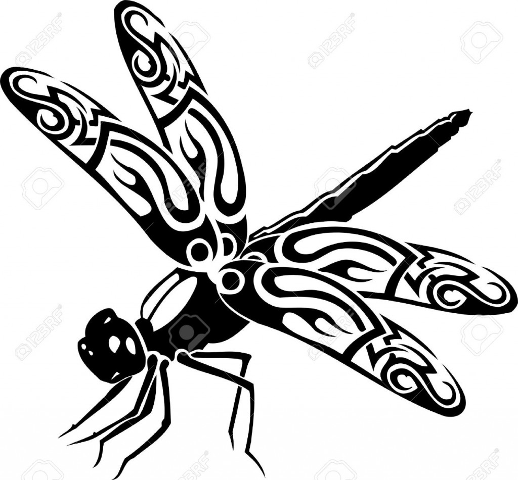 Dragonfly Vector Illustration Ready For Vinyl Cutting Royalty
