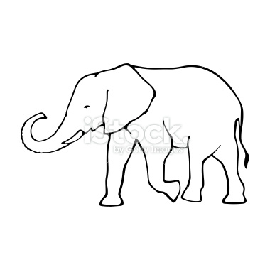 Elephant Outline Trunk Up Funny Pics