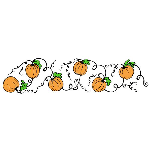 Flourish Pumpkin Border Rubber Stamp Sku G
