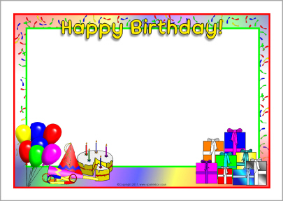 Happy Birthday A4 Page Borders Sb1 Sparklebox