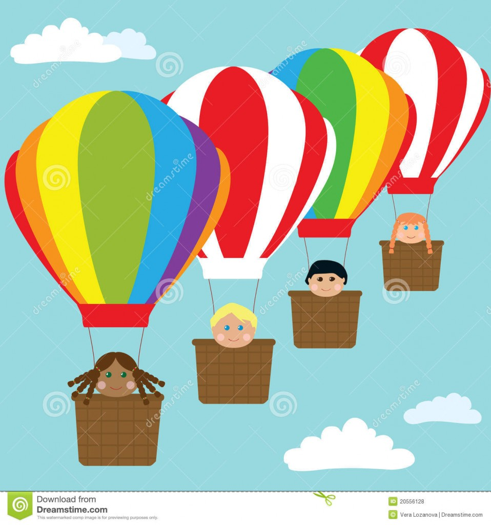 Happy Kids In Hot Air Balloons Royalty Free Stock Photos Image