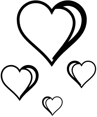 Heart Cluster Coloring Book Colouring Sheet Page Black White Line