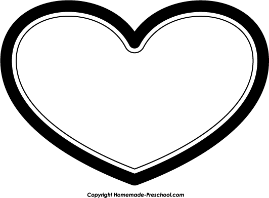 Heart Outline Clipart Black And White Free
