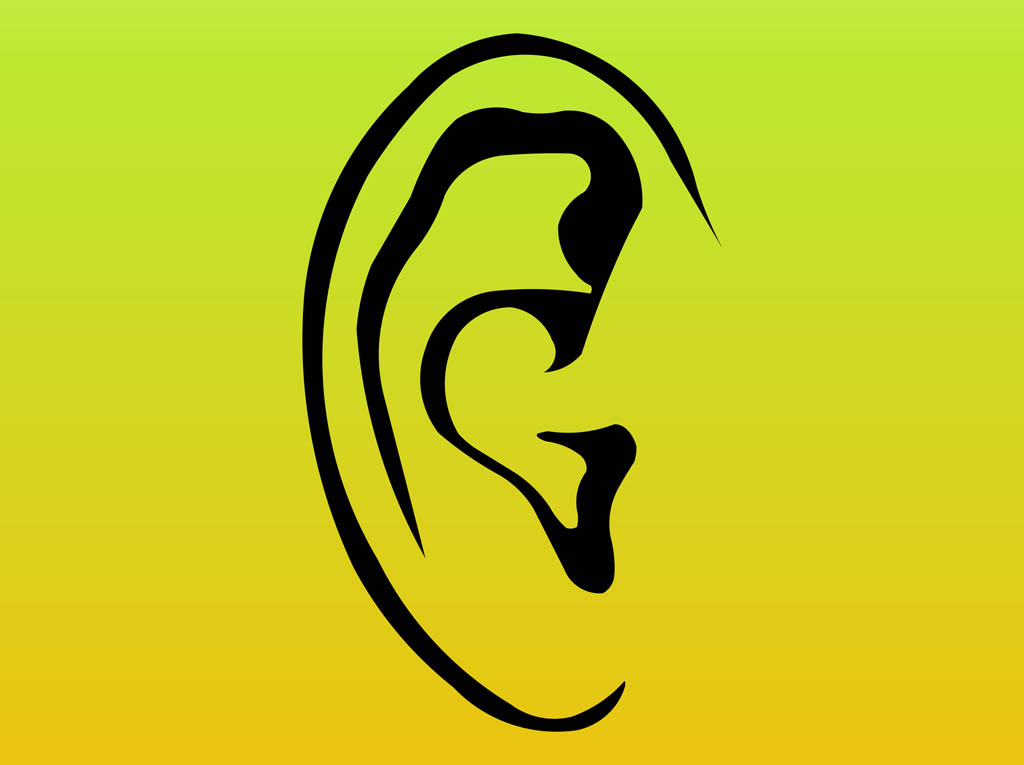Human Ear Design With Sound Symbols Clipart Free Clip Art Images