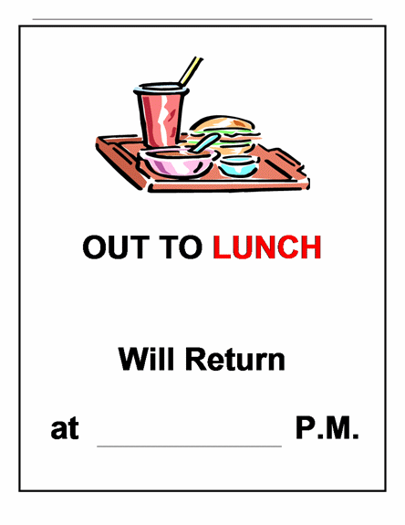photo regarding Printable Out to Lunch Sign called Perfect Out In direction of Lunch Signal #4040 -