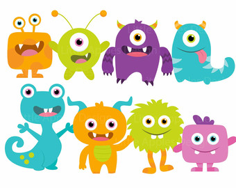 Items Similar To Monster Digital Clipart Space Monster Clipart