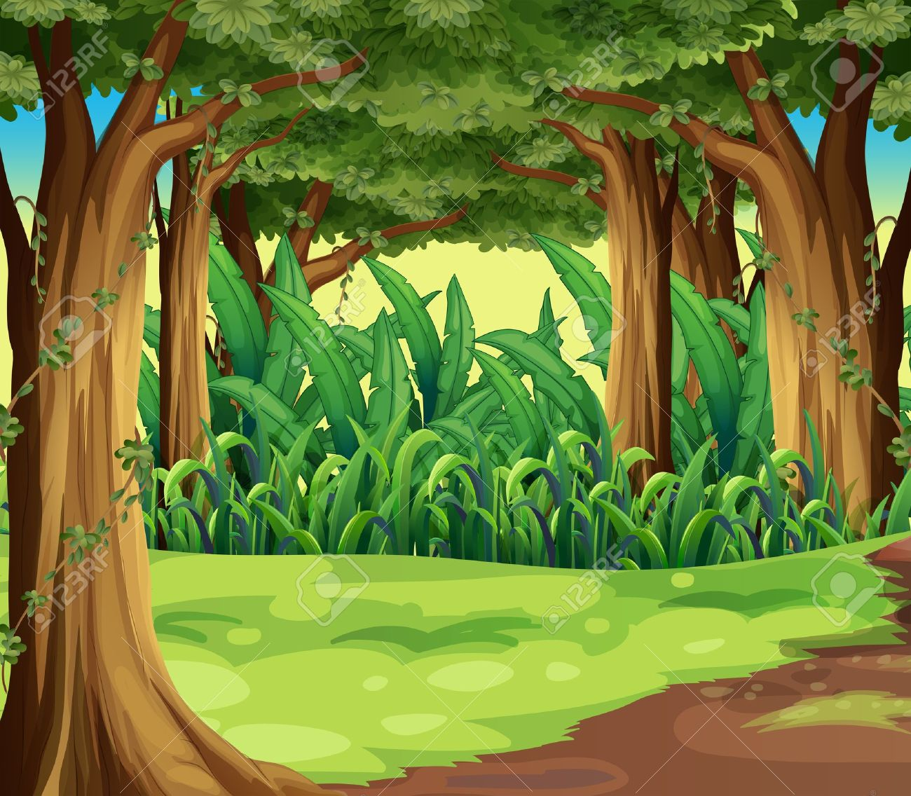 Jungle Trees Stock Illustrations Cliparts And Royalty Free Jungle