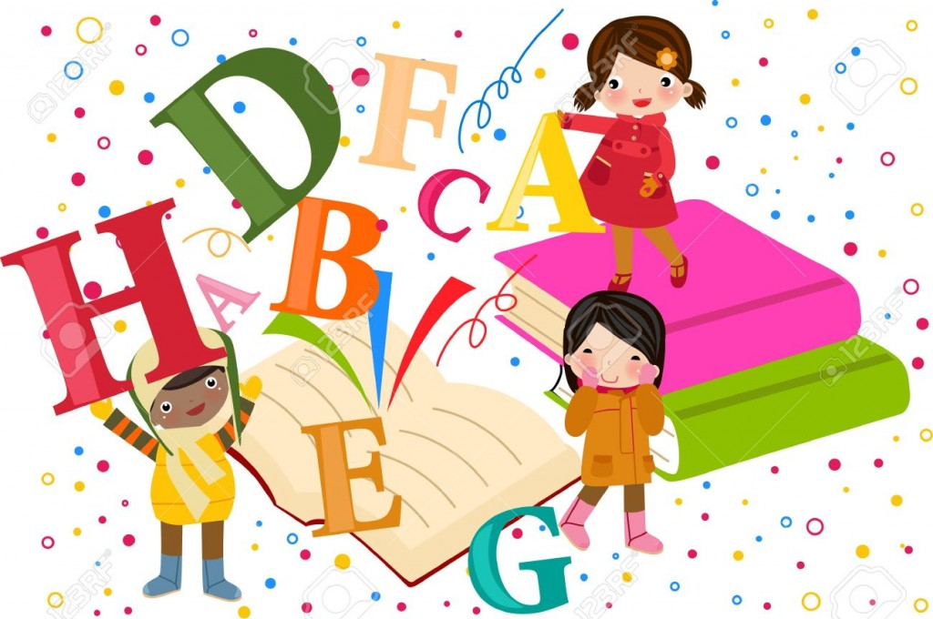 Kids On An Open Book Royalty Free Cliparts Vectors And Stock