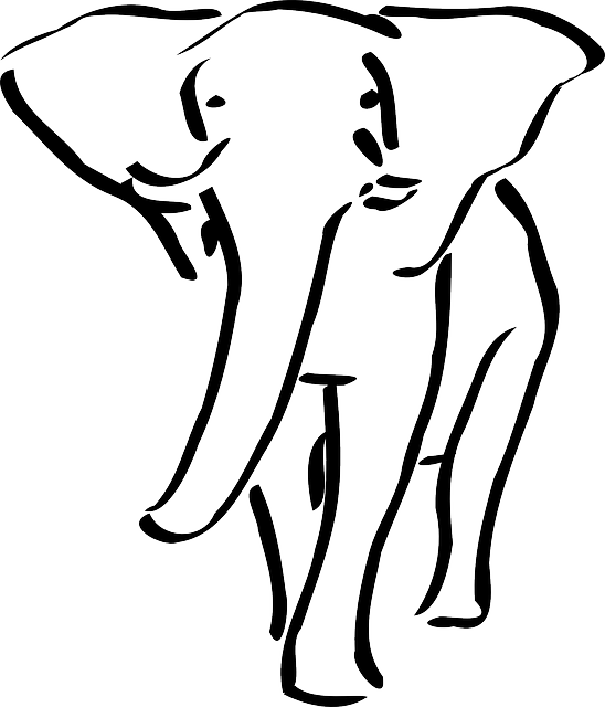 Large Outline Elephant Walking Animal Ears Trunk Public