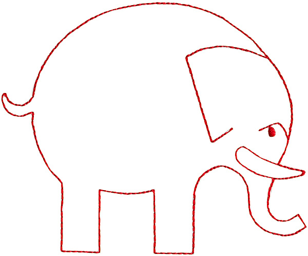 Mammals Embroidery Design Elephant Outline From Grand Slam Designs