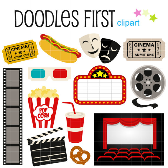 Movie Night Digital Clip Art For Scrapbooking Carddoodlesfirst