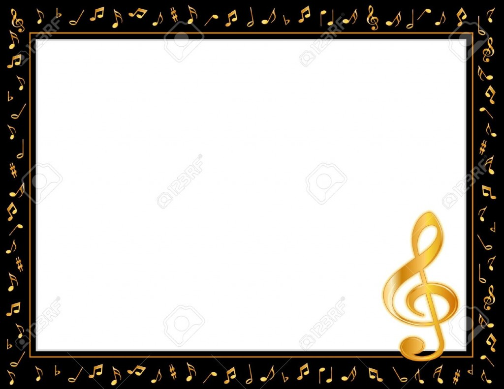 Music Entertainment Poster Frame Black Border Gold Music Notes