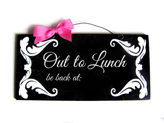 Out To Lunch Flourish Chalkboard Sign Diamonddustdesigns