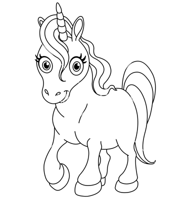Outlined Cute Unicorn Vectoryayayoy Image Vectorstock