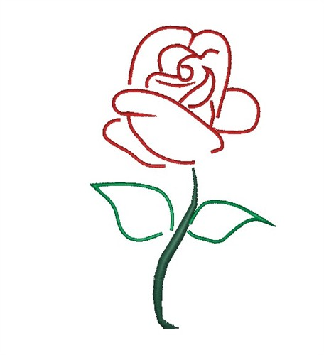 Outlines Embroidery Design Rose Outline From King Graphics