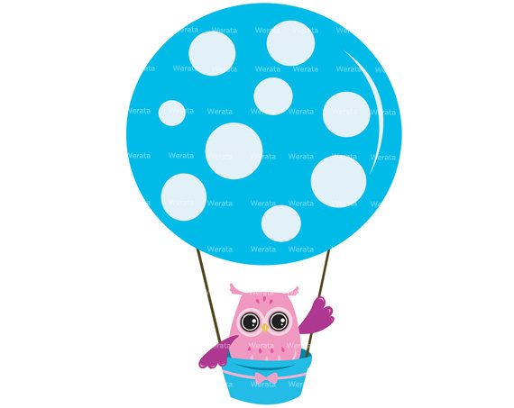 Owl Balloons Clipart Clip Art Hot Air Balloonwerata On Etsy