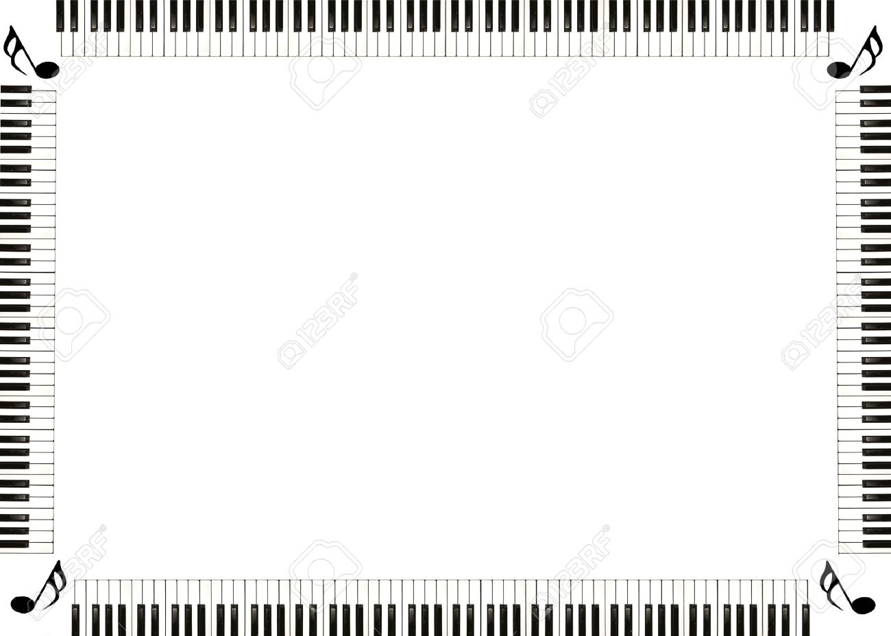 Piano Musical Border With Music Notes In The Corners Stock Photo