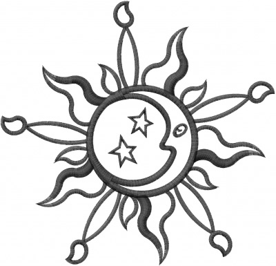 Scenes Embroidery Design Sun Amp Moon Outline From Machine