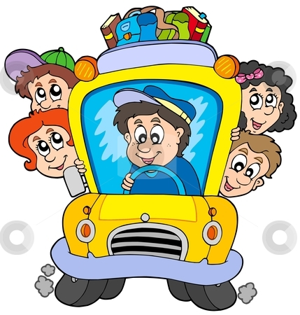 School Bus With Children Stock Vector Clipart Free Clip Art Images