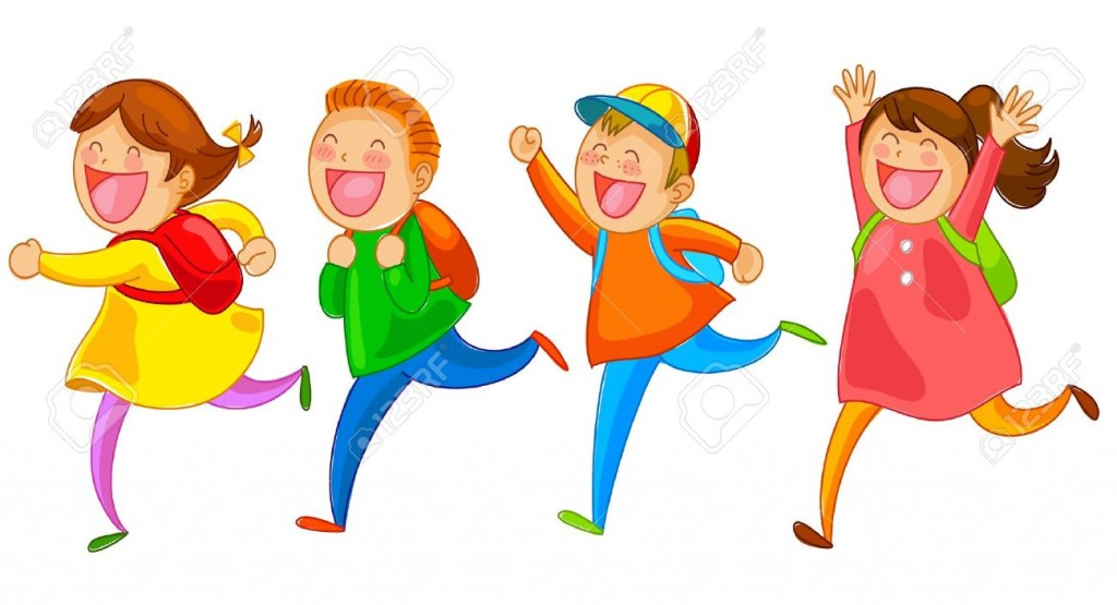 School Kids Running Happily Royalty Free Cliparts Vectors And
