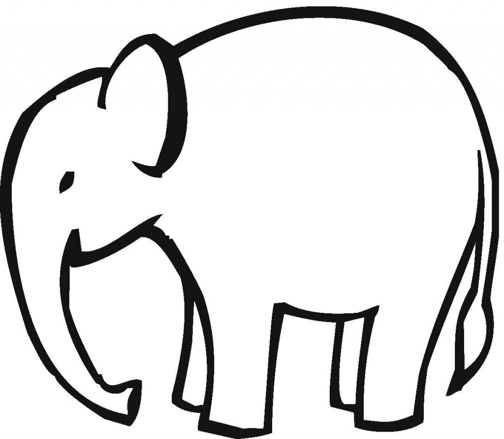 Clipart Animal Simple Line Drawing : Elephant outline clipartion