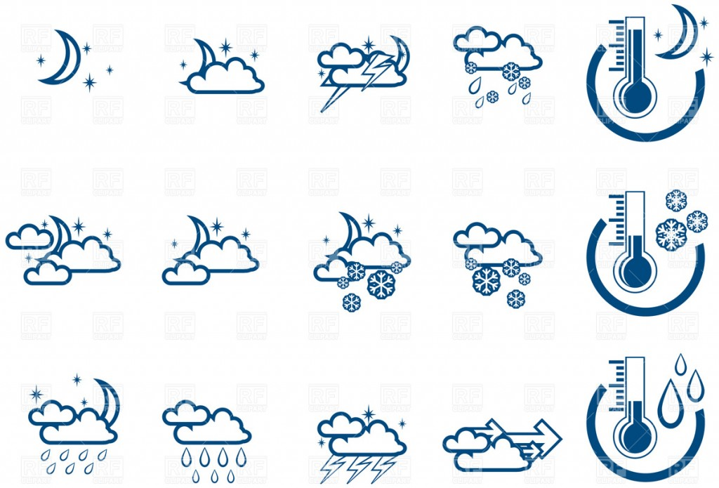 Simple Night Weather Forecast Icon Set 6 Icons And Emblems