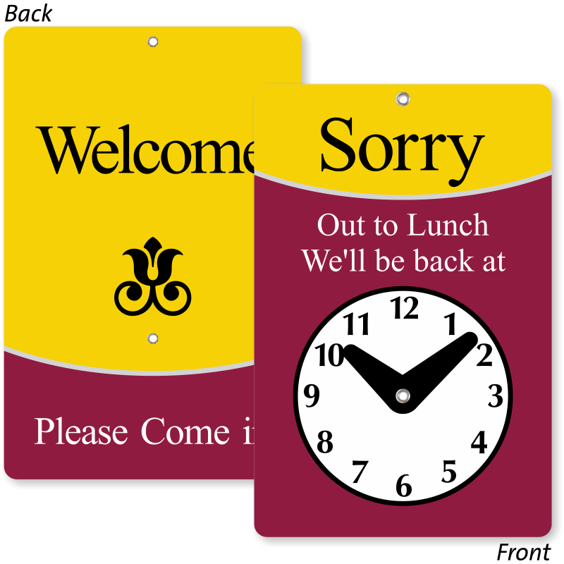 Sorry Out To Lunch Be Back Sign 2 Sided Ships Free Sku Bb 5