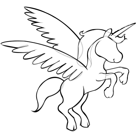 Stepstep Instructions To Draw A Unicorn With Wings