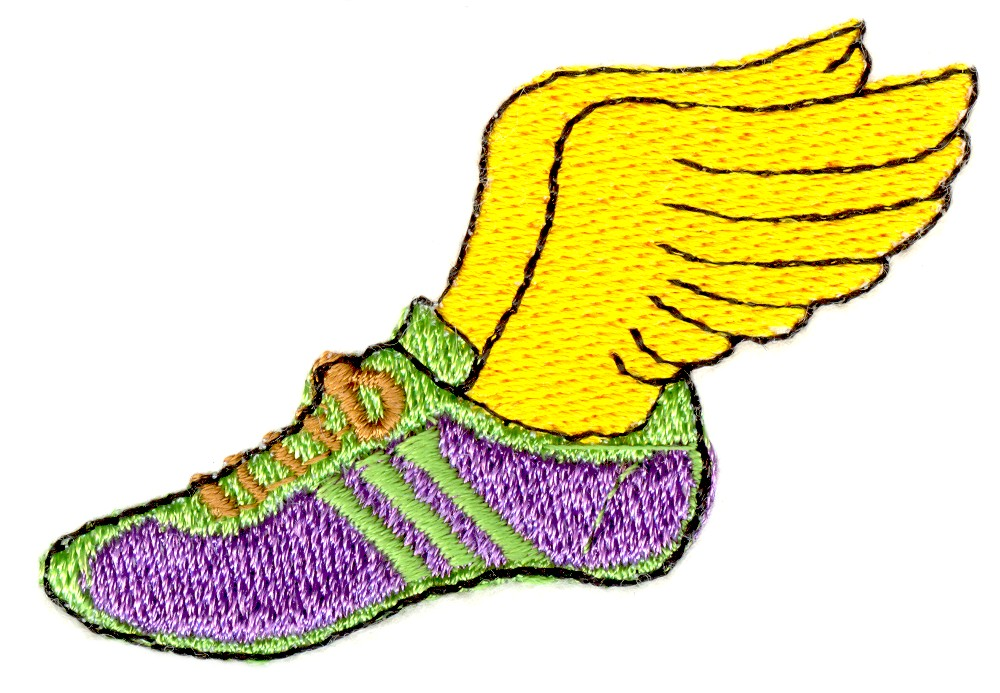 Stitchitize Embroidery Design Winged Track Shoe 1 Inches H X