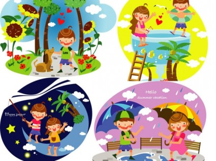 Summer Clip Art Of Children 3 Free Vector In Adobe Illustrator Ai