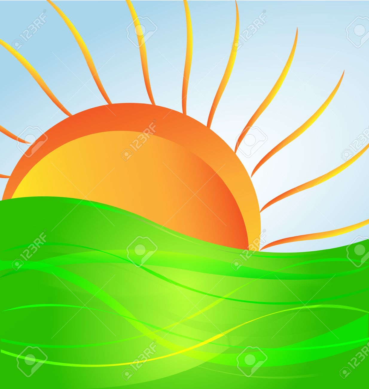 Sun And Green Hill Vector Royalty Free Cliparts Vectors And
