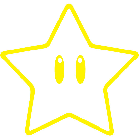 Super Mario Super Star Outline Car Window Laptopjuicydecals