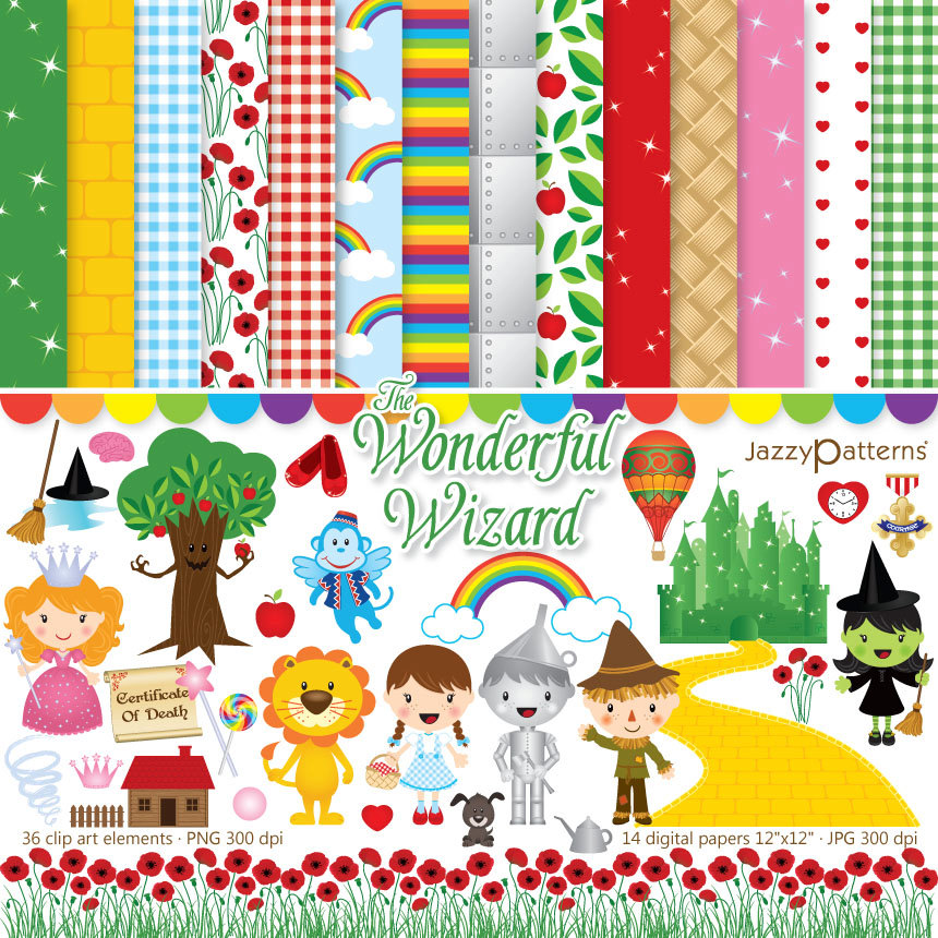 The Wonderful Wizard Of Oz Clipart And Digitaljazzypatterns