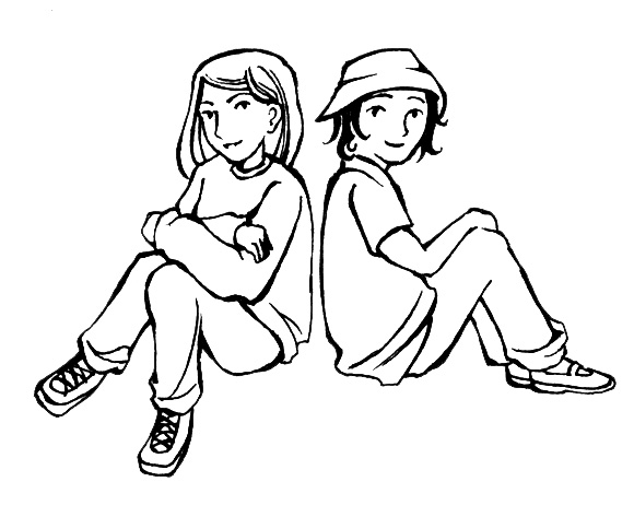 Two Friends Clipart Black And White Free Clipart